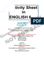 Activity Sheet English GRade 6