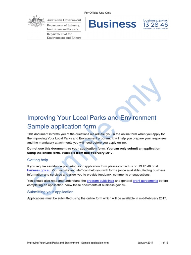 Improving Your Local Parks and Environment Sample Application Form ...