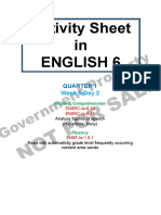 Activity sheet English 6 Quarter 1 Week 5 Day 2