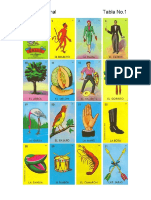 graphic regarding Printable Loteria Mexicana named Lotería Mexicana.pdf