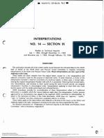 ASME IX Interpretations No. 14