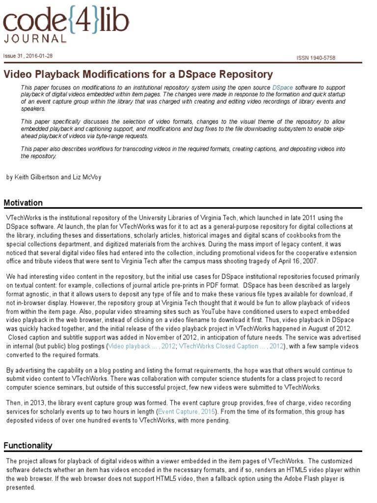 Video Gilbertson Mcvoy Dspace Video | Internet Explorer | Firefox