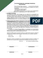 Acta de Junta de Propietarios Del Condominio Residencial