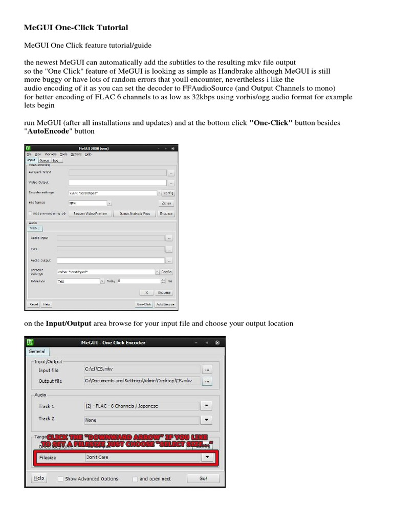 MeGUI One-Click Tutorial | Codec | Audio Electronics