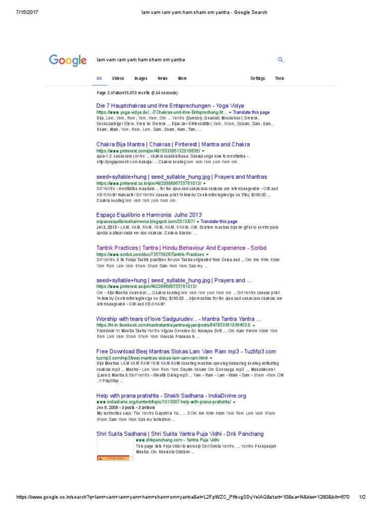 Lam Vam Ram Yam Ham Sham Om Yantra - Google Search | Chakra