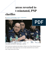 Supt. Marcos Reverted to Duty, Not Reinstated, PNP Clarifies