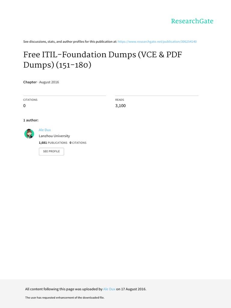 Free Itil Foundation Dumps Vce Pdf Dumps 151 180 Itil
