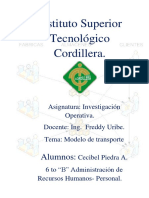 Ejercicios de Modelo Transporte