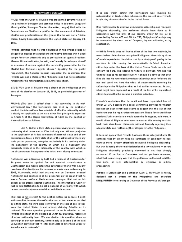 11 Frivaldo v Comelec | Naturalization | Nationality
