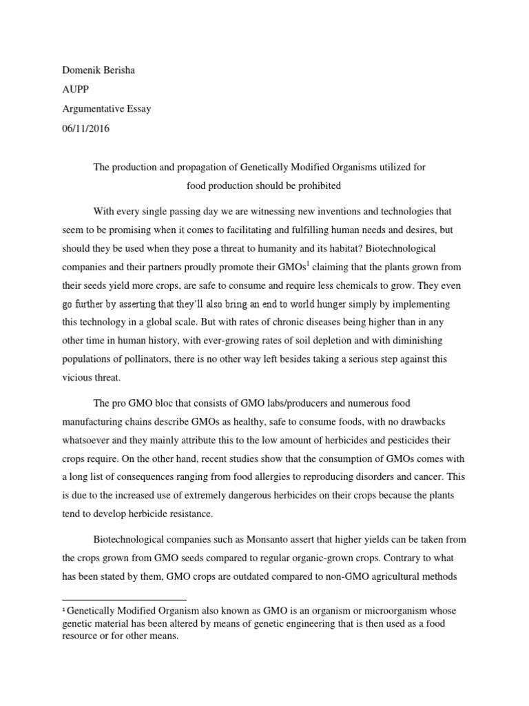 Argumentative essay genetically modified food