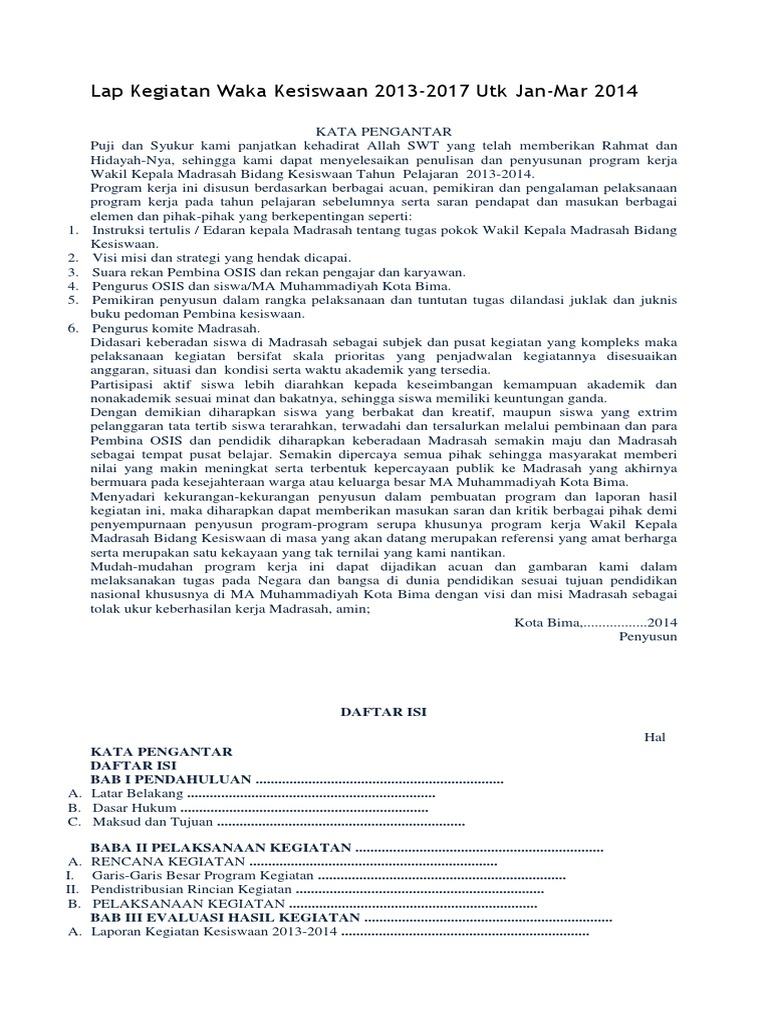 Contoh Dokumen Program Laporan Dan Dokumentasi Kegiatan Kesiswaan