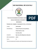 ORIGEN DEL HOMBRE, FUNDAMENTO DE LA SOCIEDAD