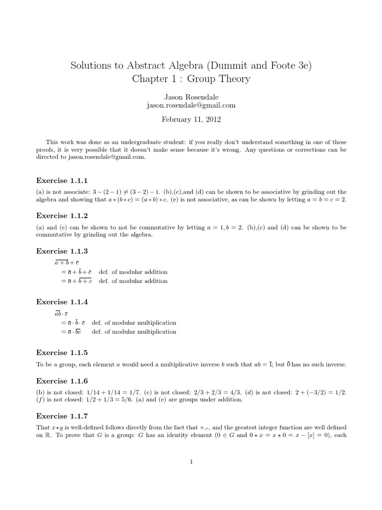 Solutions to Abstract Algebra - Chapter 1 (Dummit and Foote, 3e).pdf |  Determinant | Integer