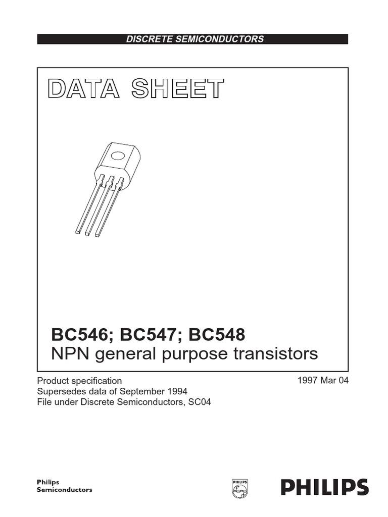 BC546-BC547-BC548 pdf | Bipolar Junction Transistor | Transistor