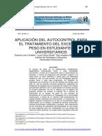 APLICACION DEL AUTOCONTROL PARA EL TRATAMIENTO DEL EXCESO DE PESO EN ESTUDIANTES UNIVERSITARIOS