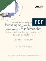 Anais de Textos Completos Do I Seminário Nacional Formação Pedagógica e Pensamento Nômade