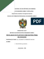 RECICLABLES DE PLÁSTICOS COMO MATERIA PRIMA EN AYACUCHO