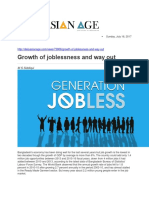 Growth of Joblessness and Way Out