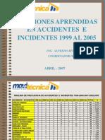 LECCIONES APRENDIDAS ACCIDENTES