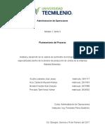 Planteamiento Del Proyecto Administración de Operaciones- Equipo 2
