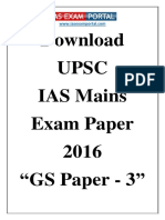 Download UPSC IAS Mains General Studies Paper 3 Exam Paper 2016 Www.iasexam
