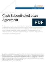 Cash Subordinated Loan Agreement