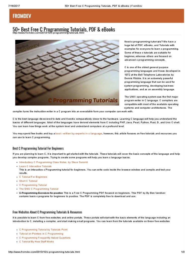 50+ Best Free C Programming Tutorials, PDF & eBooks _ FromDev | C