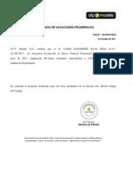 Certificado de Vacaciones Progresivas AFPModelo