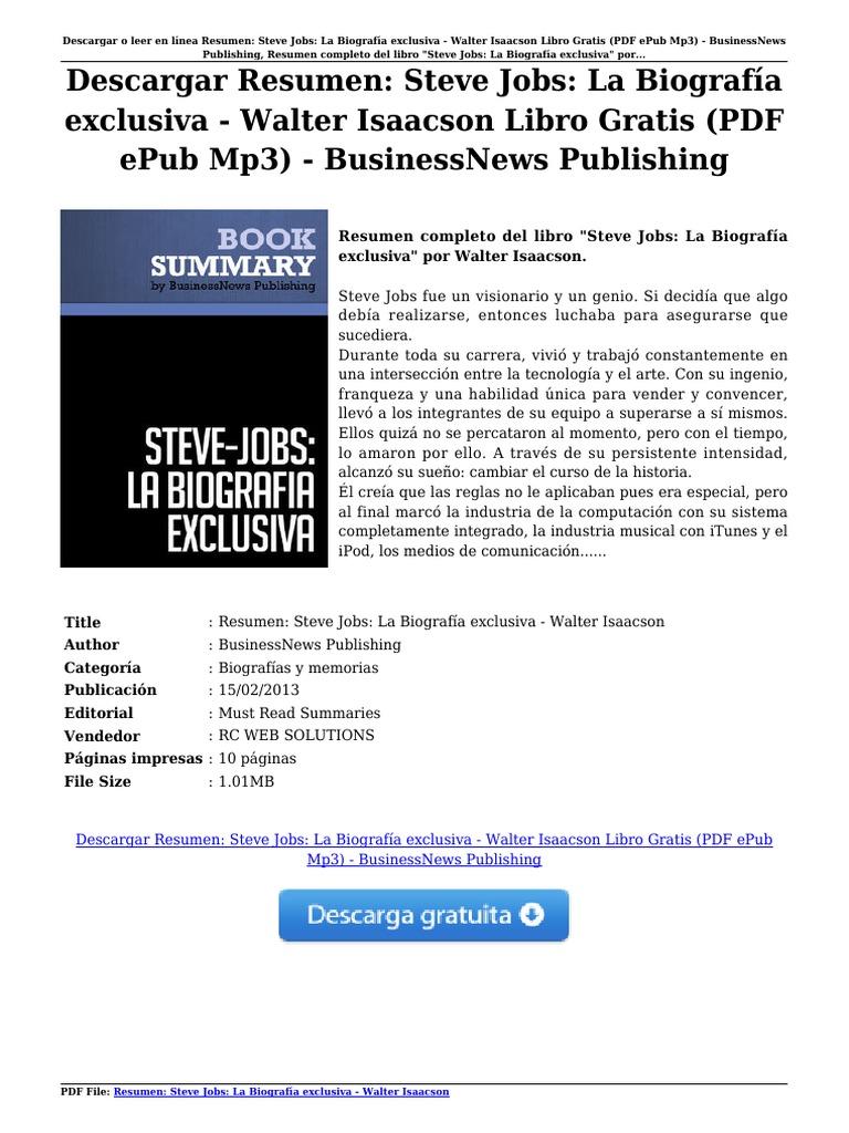 Descargar resumen steve jobs la biograf a exclusiva walter isaacson libro gratis pdf epub mp3 businessnews publishing pdf