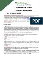 Bollettino Difesa Integrata Obbligatoria Provincia Ferrara 3giu15