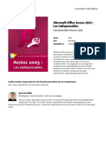 Microsoft Office Access 2003 Les Indispensables