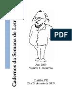 Cadernos Da Semana de Letras - Ano 2009 Volume I