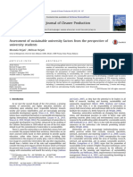 Assessment of Sustainable University Factors From the Perspective of University Students 2013 Journal of Cleaner Production