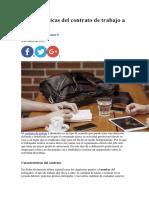 Características Del Contrato de Trabajo a Domicilio
