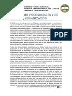 Factores Psicosociales y de Organización