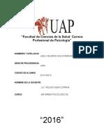 INFORMES PSICOLÓGICOS-2016