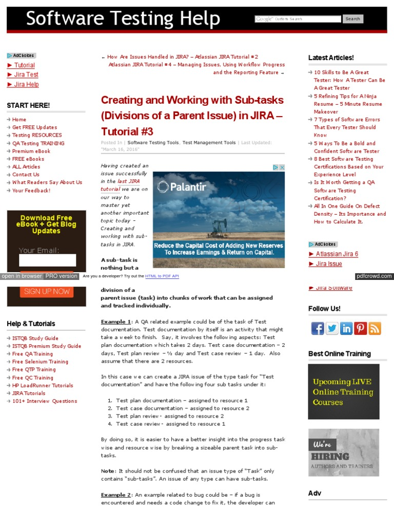 3 Creating and Working With Sub-tasks (Divisions of a Parent Issue