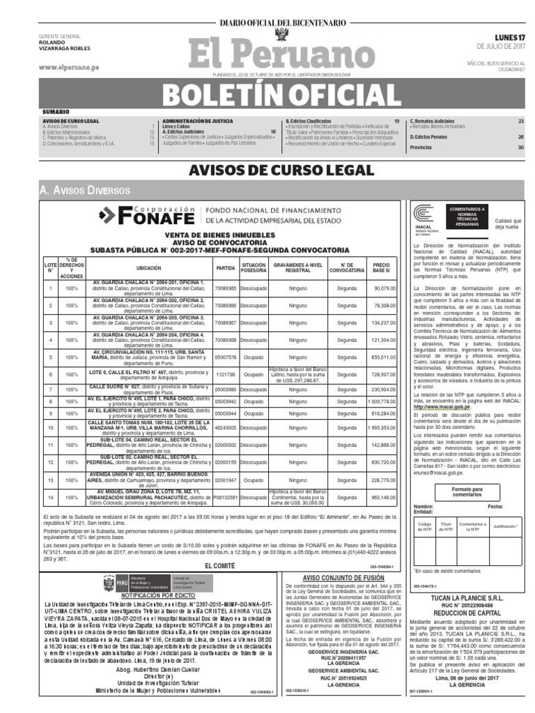 Diario Oficial El Peruano, Edición 9759. 17 de julio de 2017