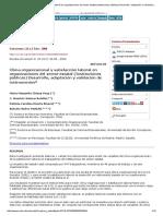 Clima Organizacional y Satisfacción Laboral en Organizaciones Del Sector Estatal (Instituciones Públicas) Desarrollo, Adaptación y Validación de Instrumentos