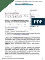 Métricas de Valoración de La Gestión Del Conocimiento Para Las Pequeñas y Medianas Empresas Del Sector Tecnologías de Información en El Triángulo Del Café en Colombia