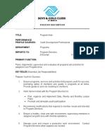 Program Aide Job Description