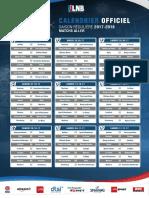 Calendrier Pro A  saison 2017-2018