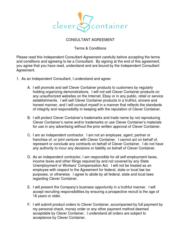 Free Sample Consultant Agreement Template | Independent Contractor |  Employment