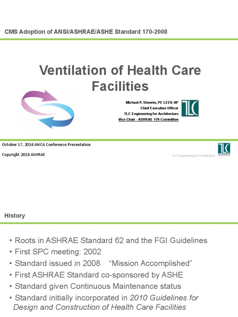 ASHRAE 170 Update - AHCA Conference 2016 | Hvac | Ventilation (Architecture)