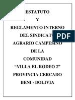 Reglamento Interno Del Sindicato Agrario Campesino de La Comunidad