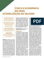 Análise Técnica e Econômica de Soluções Para Estabilização de Taludes.