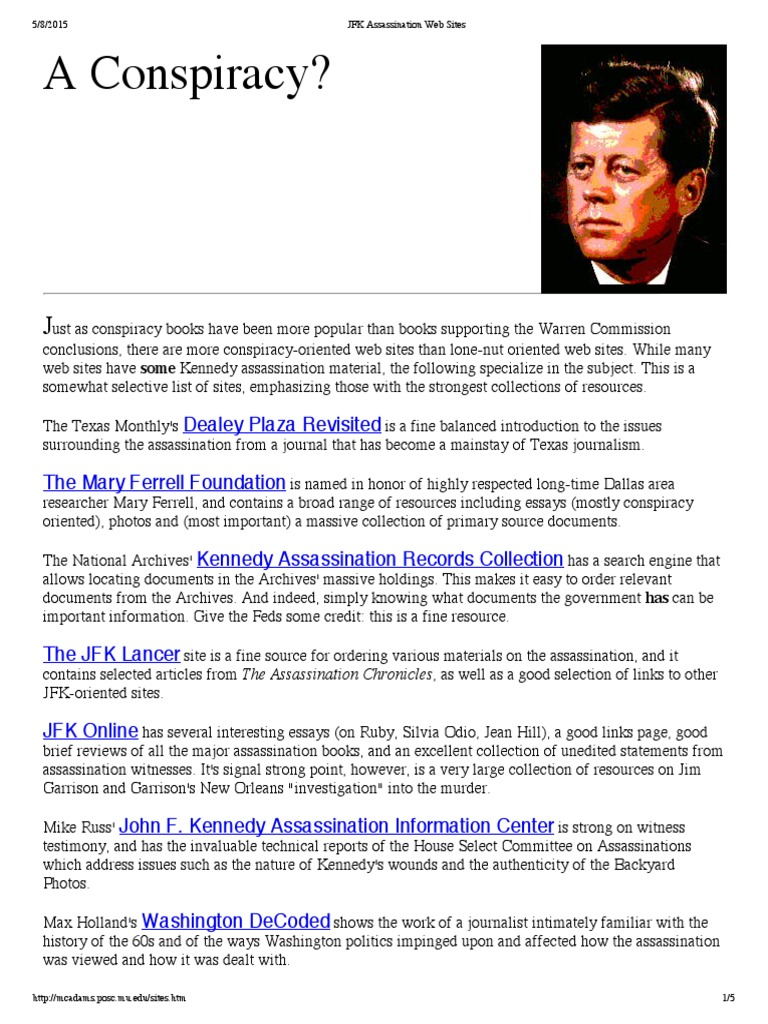 Examples Of Proposal Essays Jfk Assassination Web Sitespdf  Assassination Of John F Kennedy  Warren  Commission Good Synthesis Essay Topics also What Is Thesis In Essay Jfk Assassination Web Sitespdf  Assassination Of John F Kennedy  Persuasive Essay Thesis Statement Examples