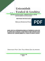 Análise Da Aprendizagem Autorregulada 2015 - PAVESI Marilza Aparecida