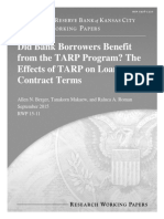 Did Bank Borrowers Benefit from the TARP Program? The Effects of TARP on Loan Contract Terms Federal Reserve - Kansas