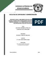 Propuesta Para La Implementacion de Un Sistema de Control Interno Para Un Buen Manejo de Efectivo de Una Empresa Dedicada a La Comercializacion de Articulos Electricos en El Valle de Toluca 2015